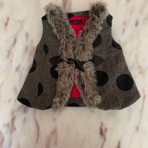 Catimini wool tweed vest with faux fur trim.
